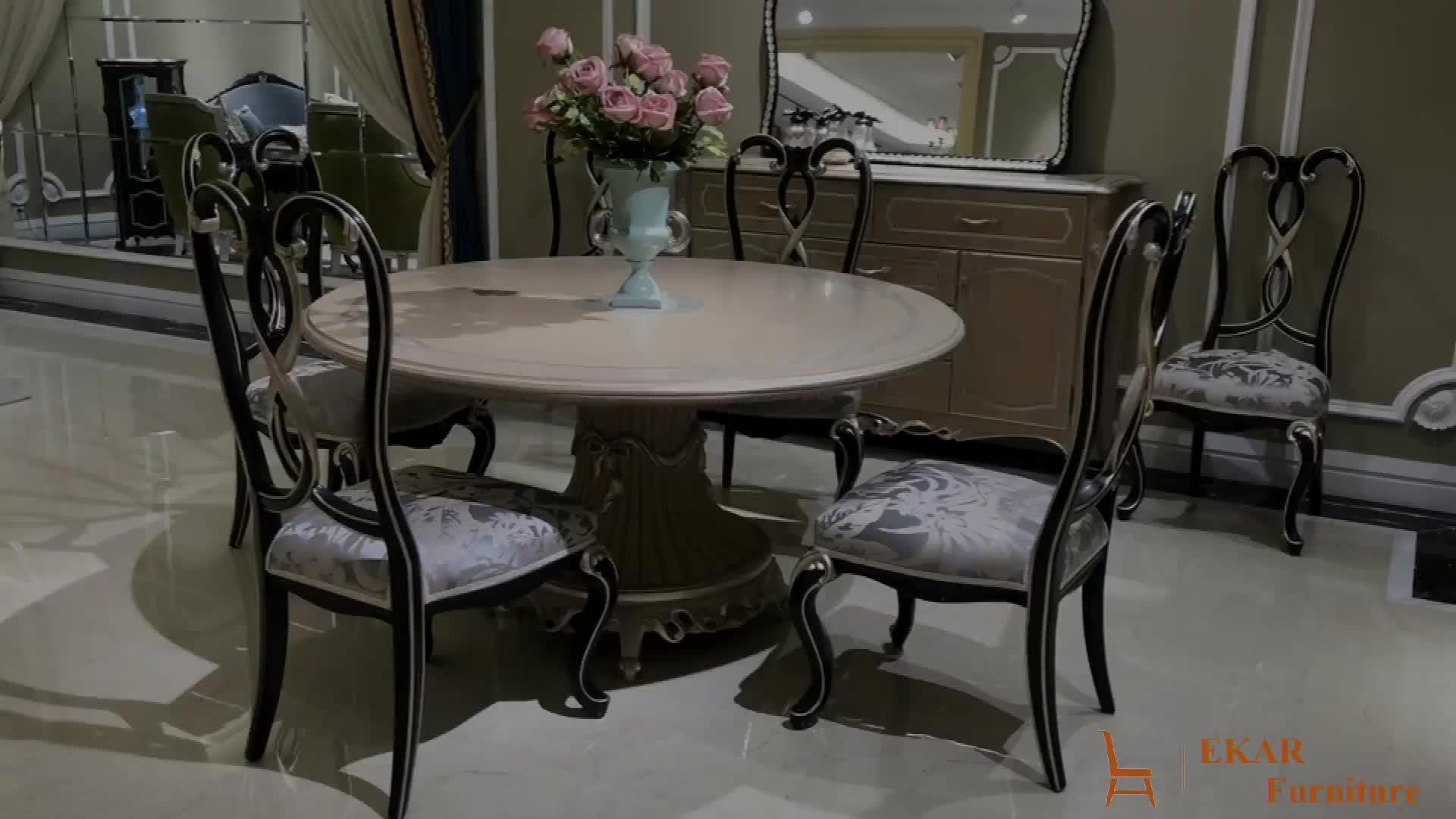 White With Gold Foil Solid Wood Round Dining Table