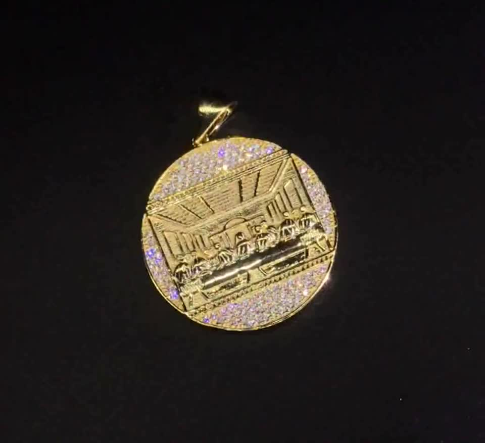 HipHop Greek Sign  Round Medallion Charms Custom Jewelry Wholesale Coin Round Medal Pendant Pure Silver Heavy