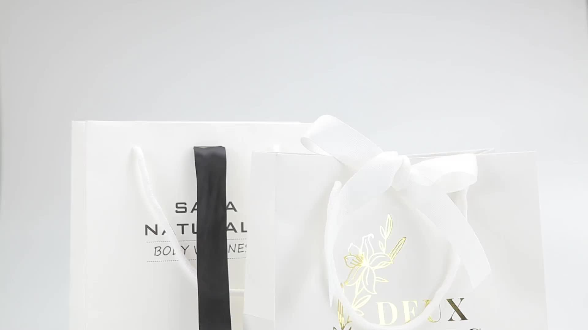 Personalizado de lujo impreso grande de bolsas de papel con su propio logotipo