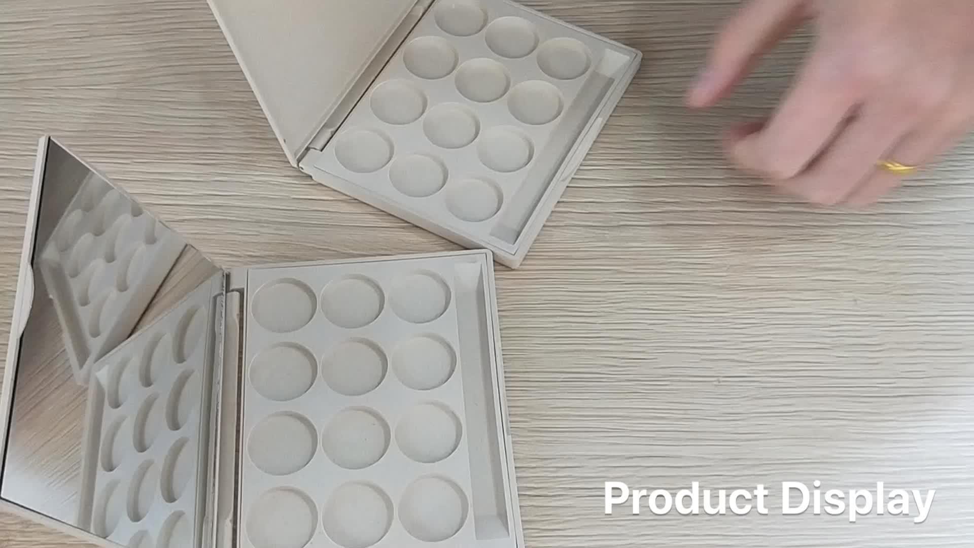 भूसे के साथ समग्र सामग्री कॉस्मेटिक packaging12 रंग आंखों के छायाएं पैलेट दर्पण