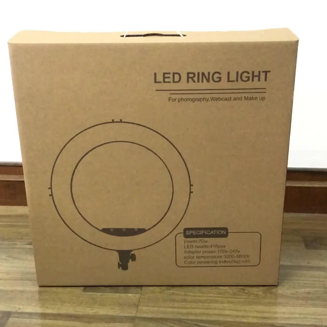 18 인치 selfie LED 링 라이트 원격 제어 스튜디오 조명 3200-6000K 메이크업 416 led 카메라 라이트 아름다움