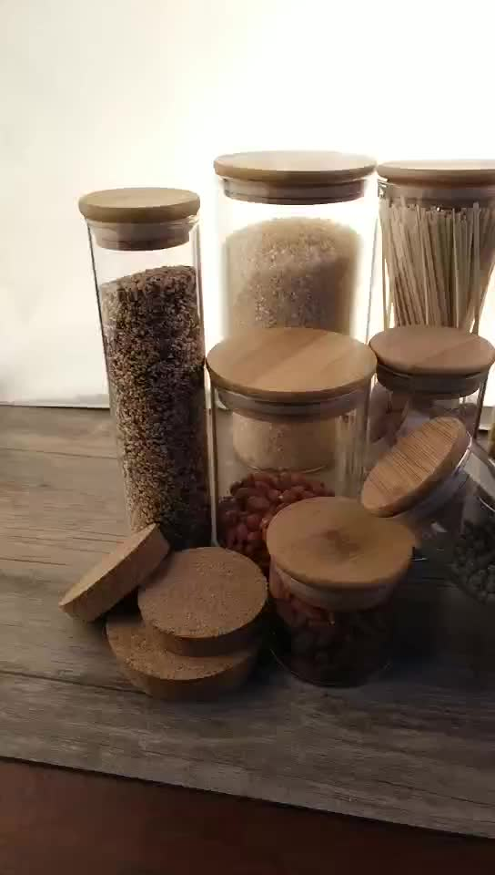 Tarros de vidrio de almacenamiento frasco de vidrio y contenedor de bambú tapa borosil frascos de vidrio de contenedores