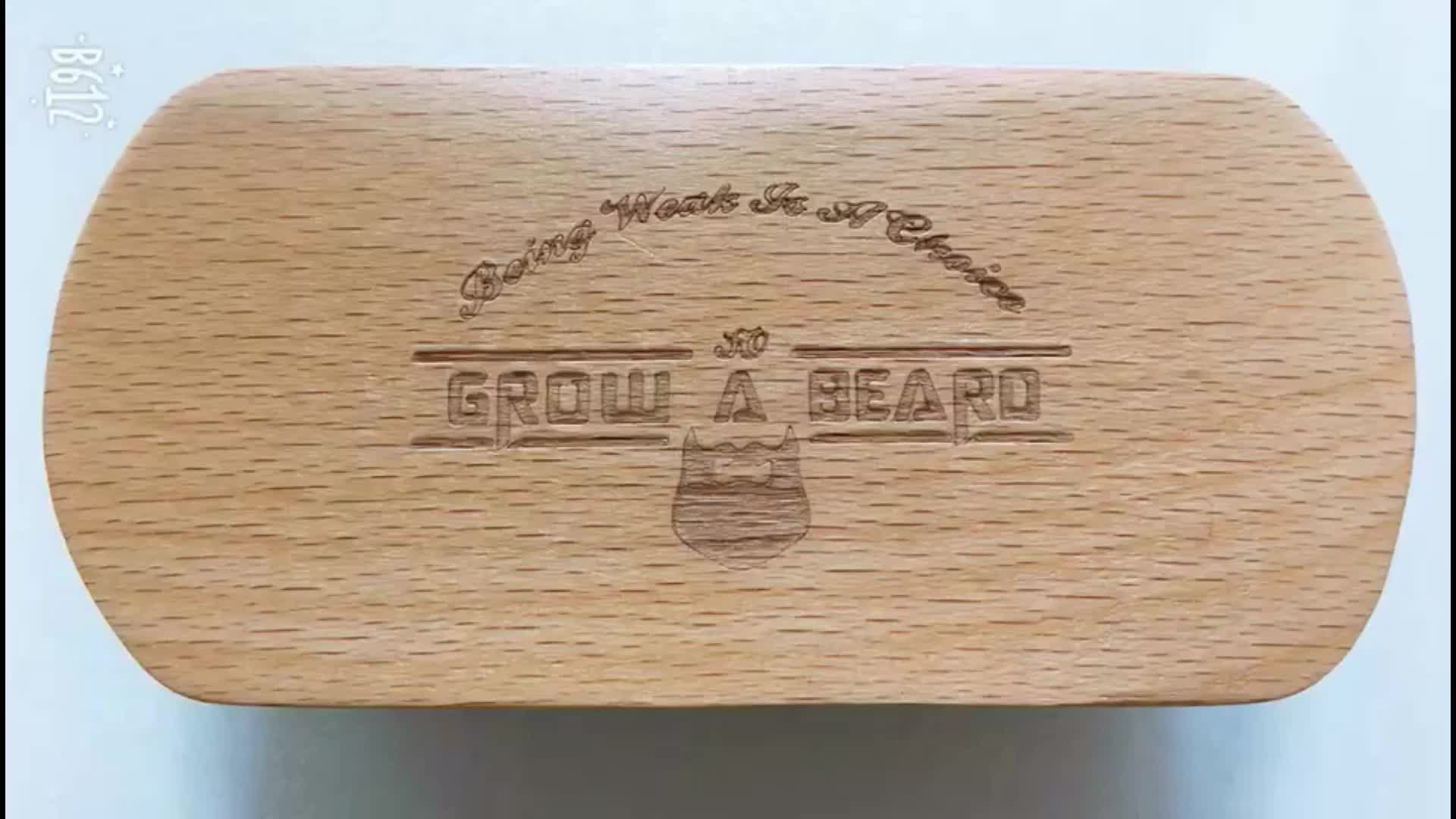 custom logo beechwood handle boar hair beard brush