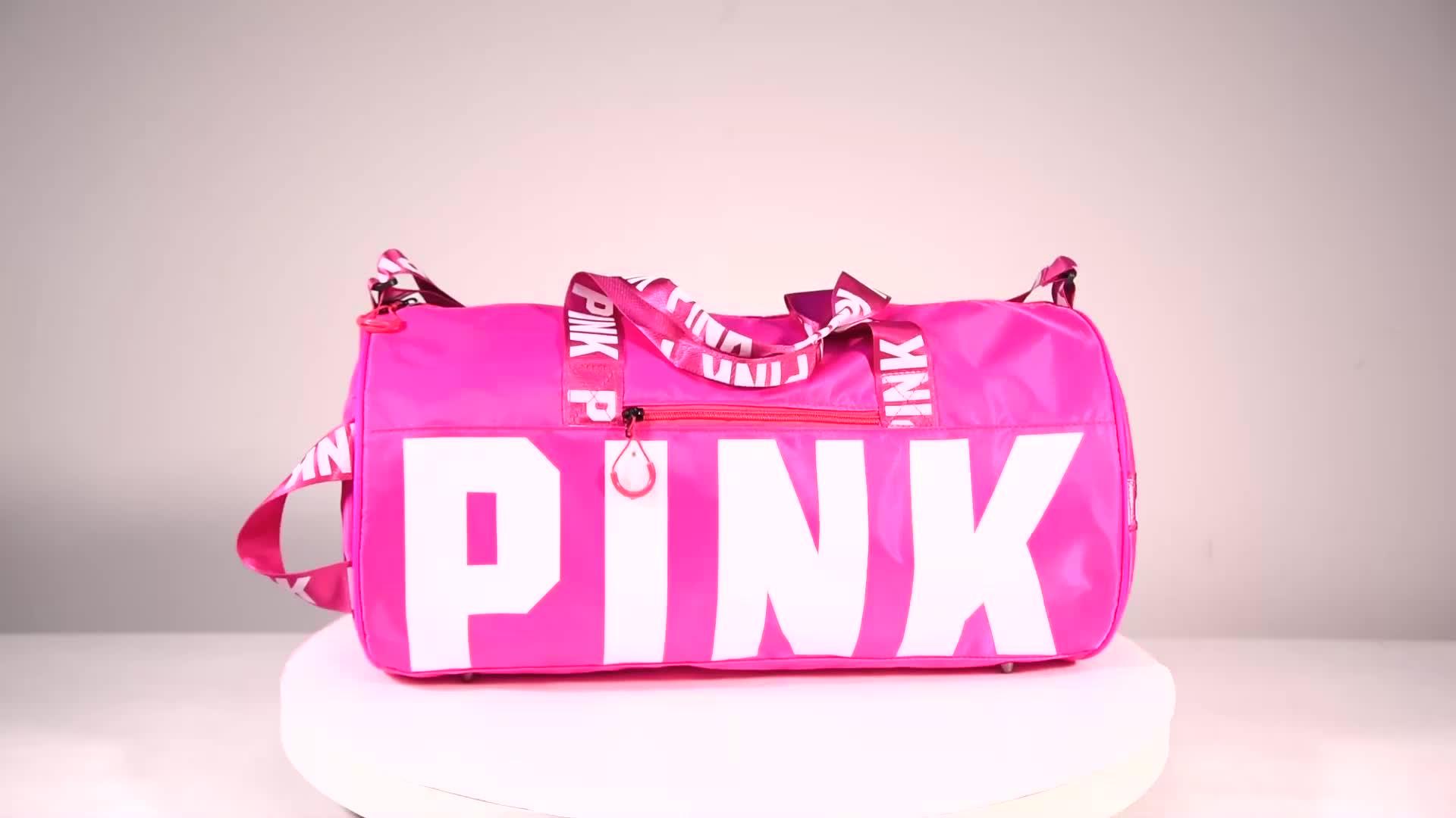 شعار مخصص سعة كبيرة حقائب قماش الوردي الصالة الرياضية النساء مقاوم للماء حقيبة سفر رياضية