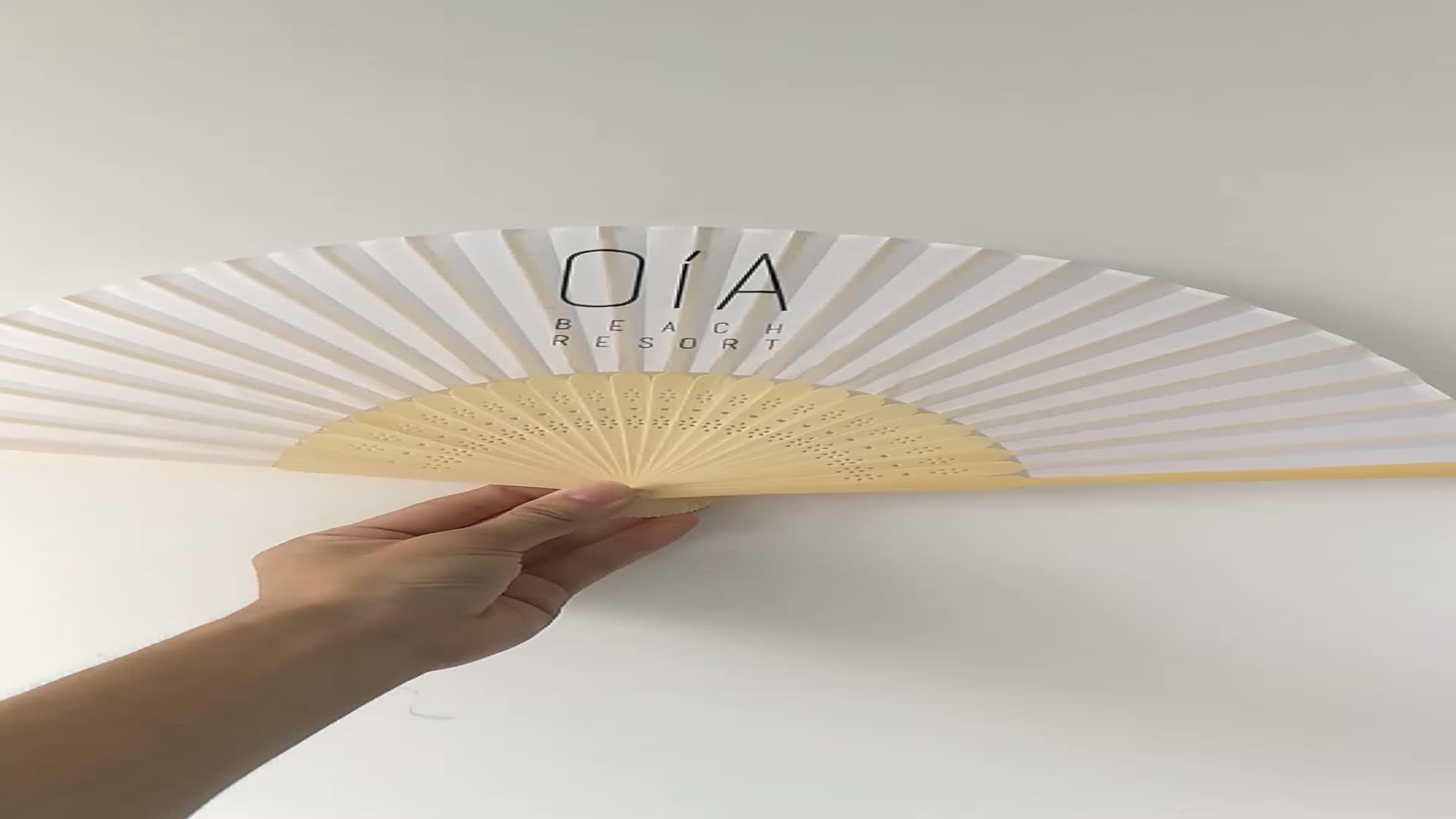Personalizado de bambú costilla tejido de poliéster plegable ventilador de mano para regalo de promoción