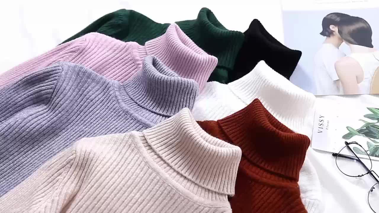 カスタム女性のセータータートルネック女性のハイネックセーターガールニットプルオーバーセーター