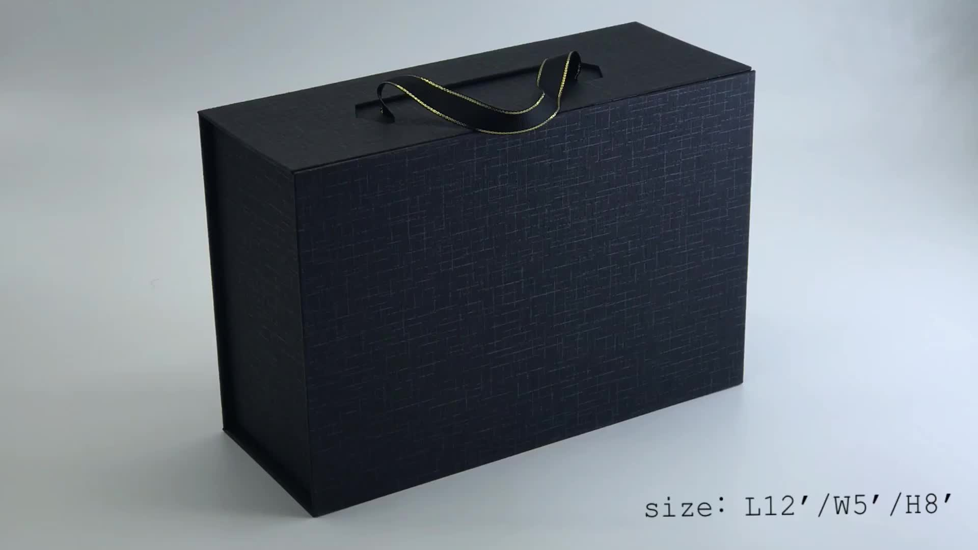 custom luxury matte Black cardboard gift box magnetic box packaging with Ribbon Handle for chocolate/candy/pastry box