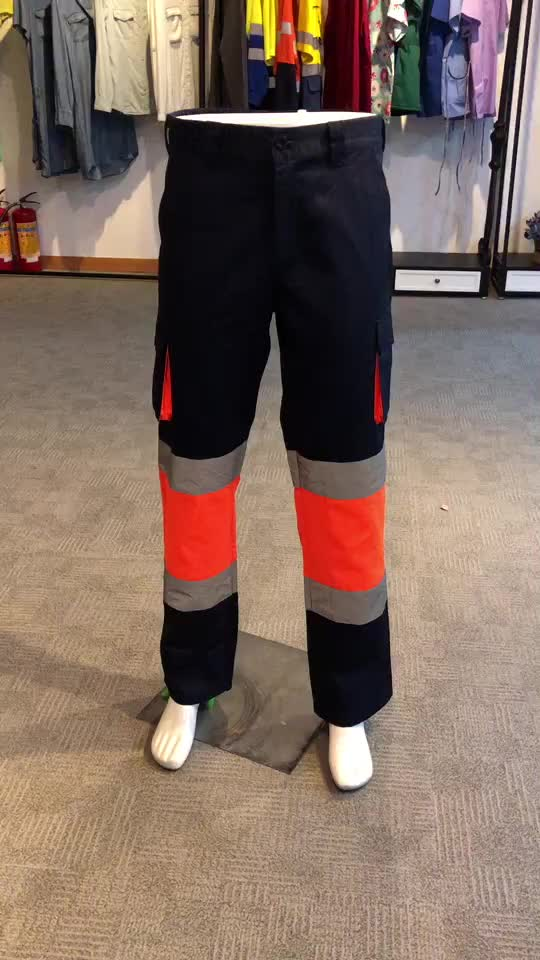 China Manufacture European Work Clothes High Visibility Cargo Pants with Knee Patch