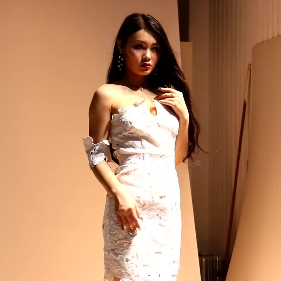 Nuevo diseño floral hombro elegante mujer sexy de dama de honor vestido de encaje