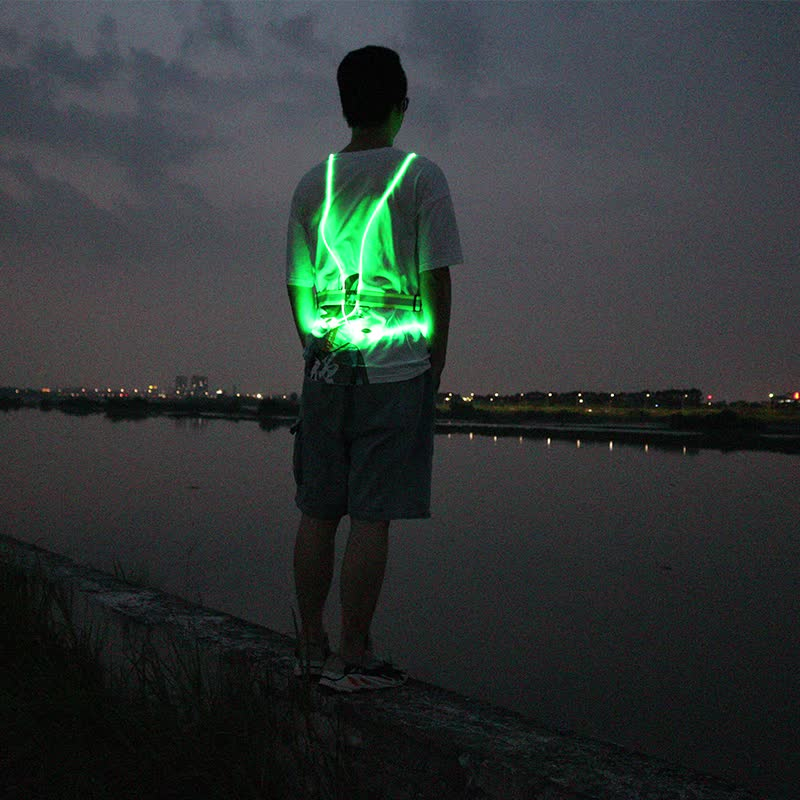 hot sell glowing reflective led running vest for night sport