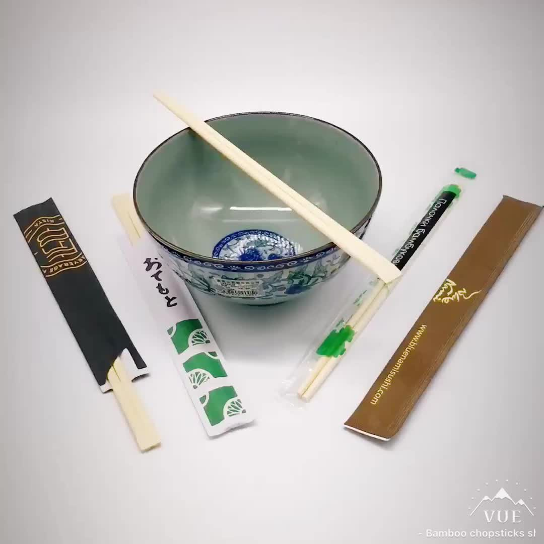 Custom Disposable Bamboo Chopsticks Twins/Round/Tensoge in Paper Sleeve