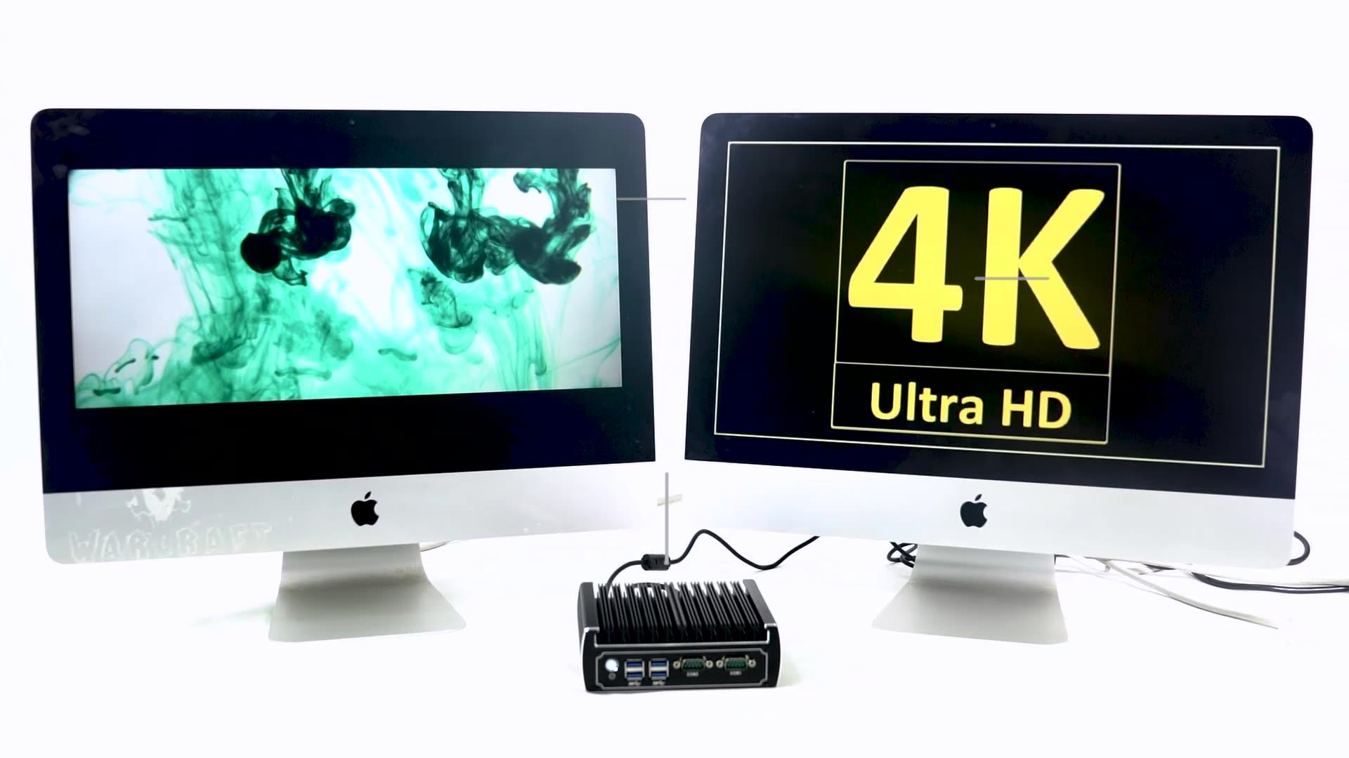 2019 Ultra HD 4K Mini PC double Nic Intel Core i5 7200u sans ventilateur Ubuntu ordinateur de bureau pour Windows 10