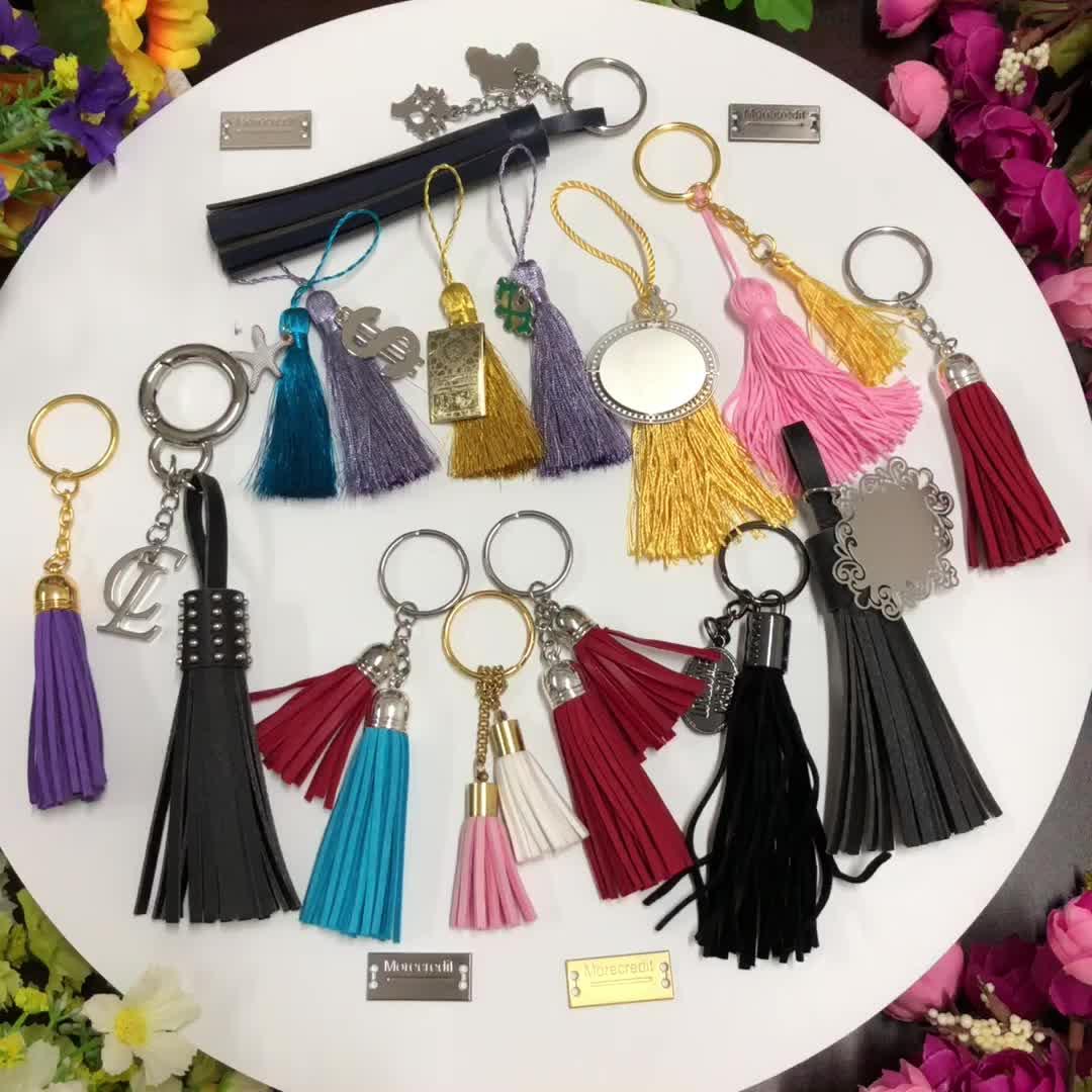 Hot Selling Custom Leather Tassel Keychain Wholesale Color Tassel Fringe For Purse Handbag