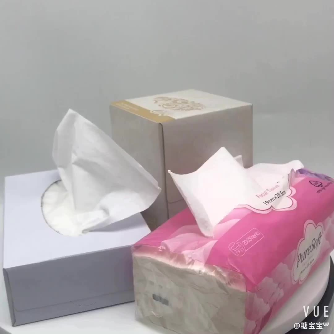 โรงงานราคาไม้บริสุทธิ์เยื่อ Soft Pack/แบนกล่องเนื้อเยื่อใบหน้า