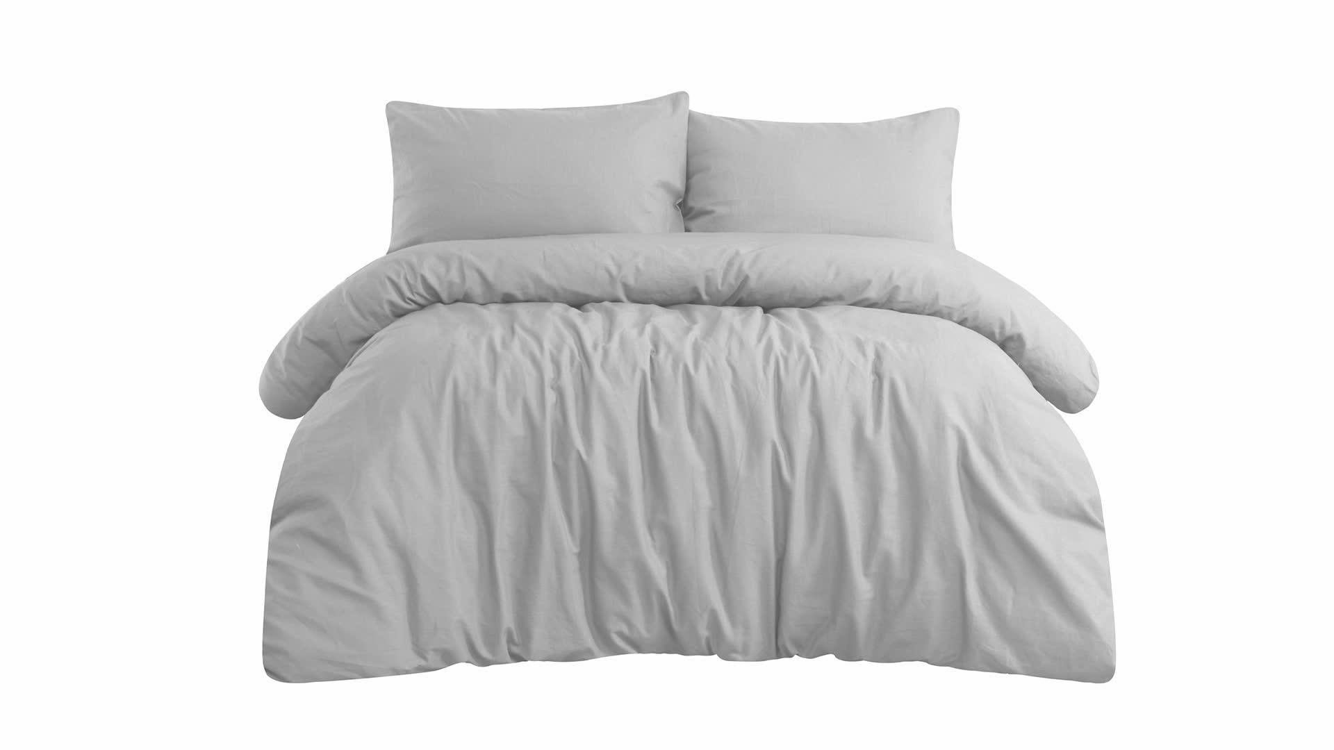 Korean Style Famous Brands Light Gray Linen Cotton Quilt Duvet Cover Bedding Set with Pillowcases