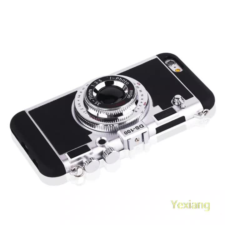 Cool 3D Vintage Camera Design 3D Silicone Phone Case for iPhone 6plus with mirror
