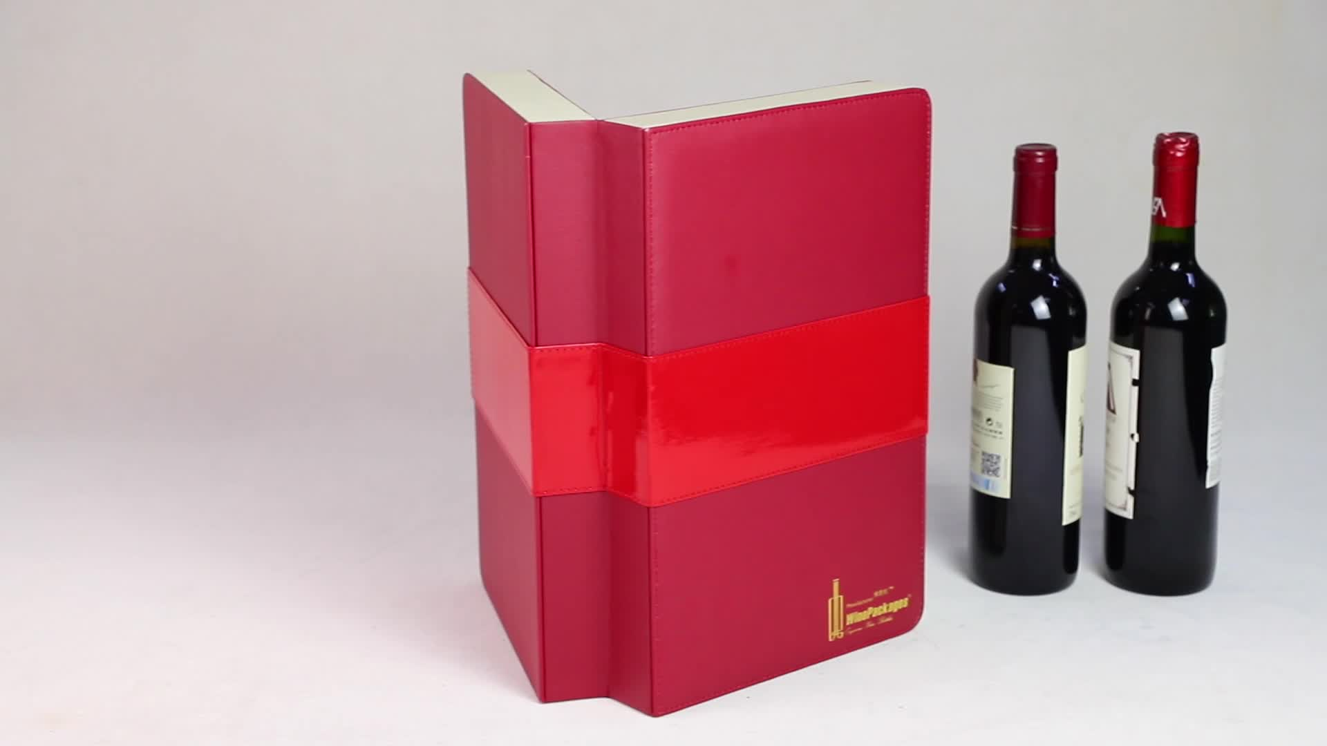 Luxury high quality custom cardboard christmas wine 2 bottle wine box with pvc window fabric wine package