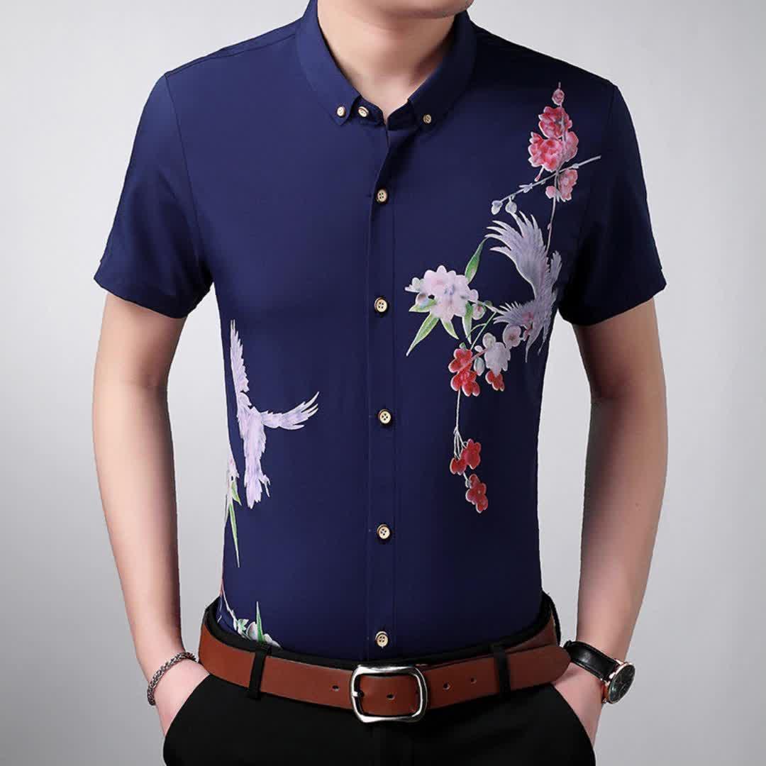 Hot sale western style loose man plus size digital print short sleeve man blouse tshirt