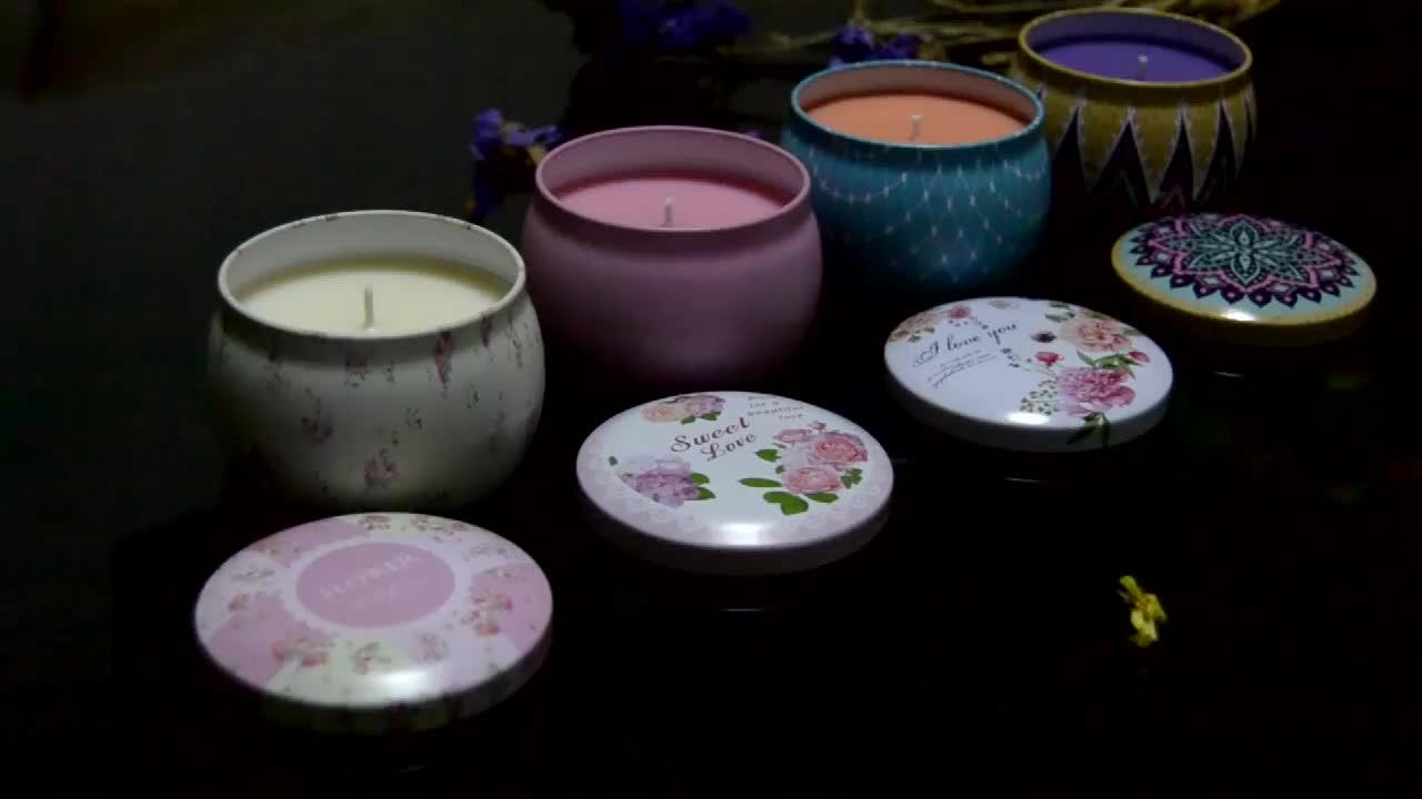 Aromatherapie Soja Wachs Hause Tragbare Praktische Schmücken Bunte Zinn Box Kerze