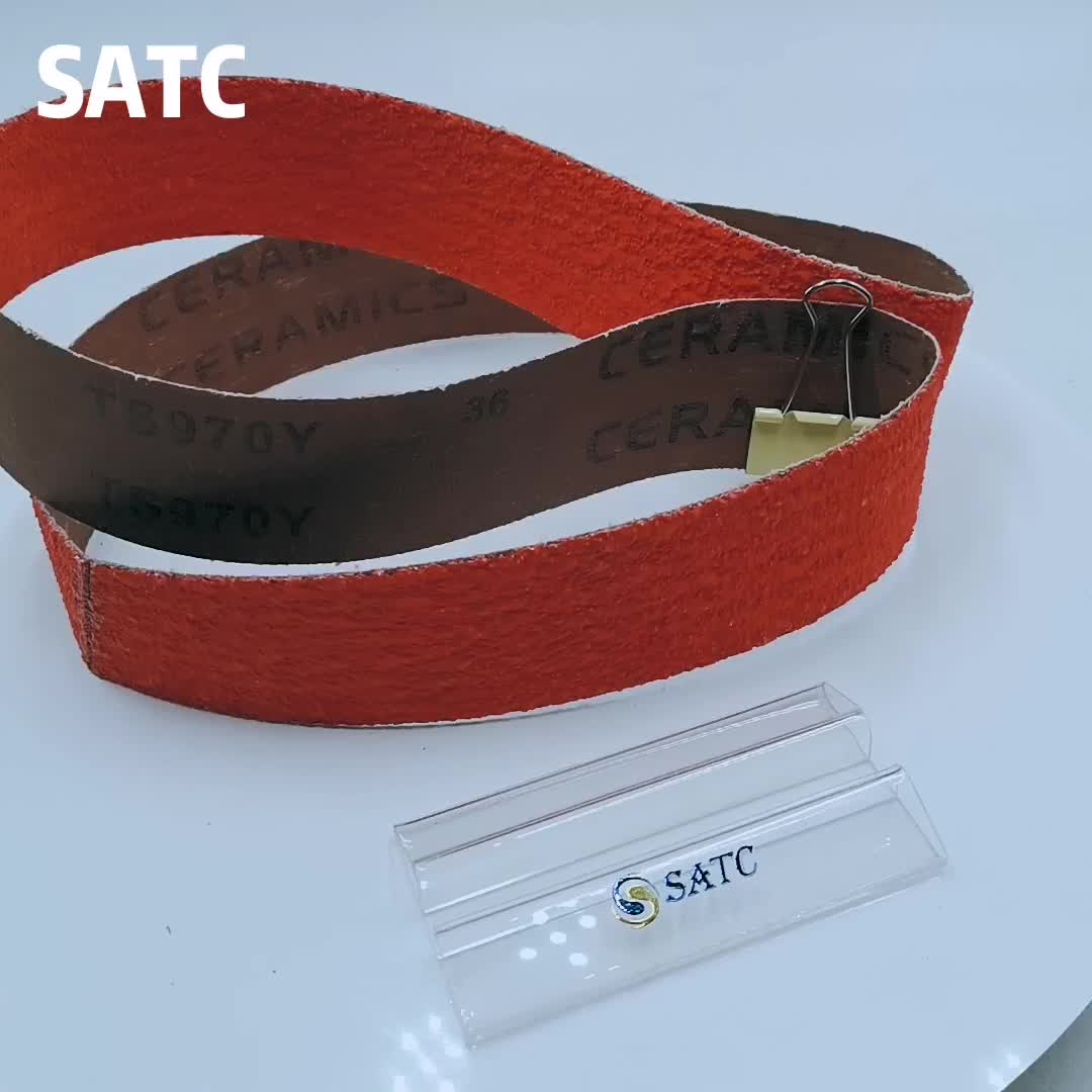 SATC Professional Grade 2 x 72 inch  Ceramic sanding belt with Y- Weight Heavy Duty Polyester Cloth Backing