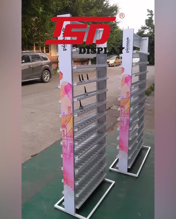 Piano personalizzato di polveri di metallo acrilico del banco di mostra, opi nail polish display rack, mobili negozio di cosmetici