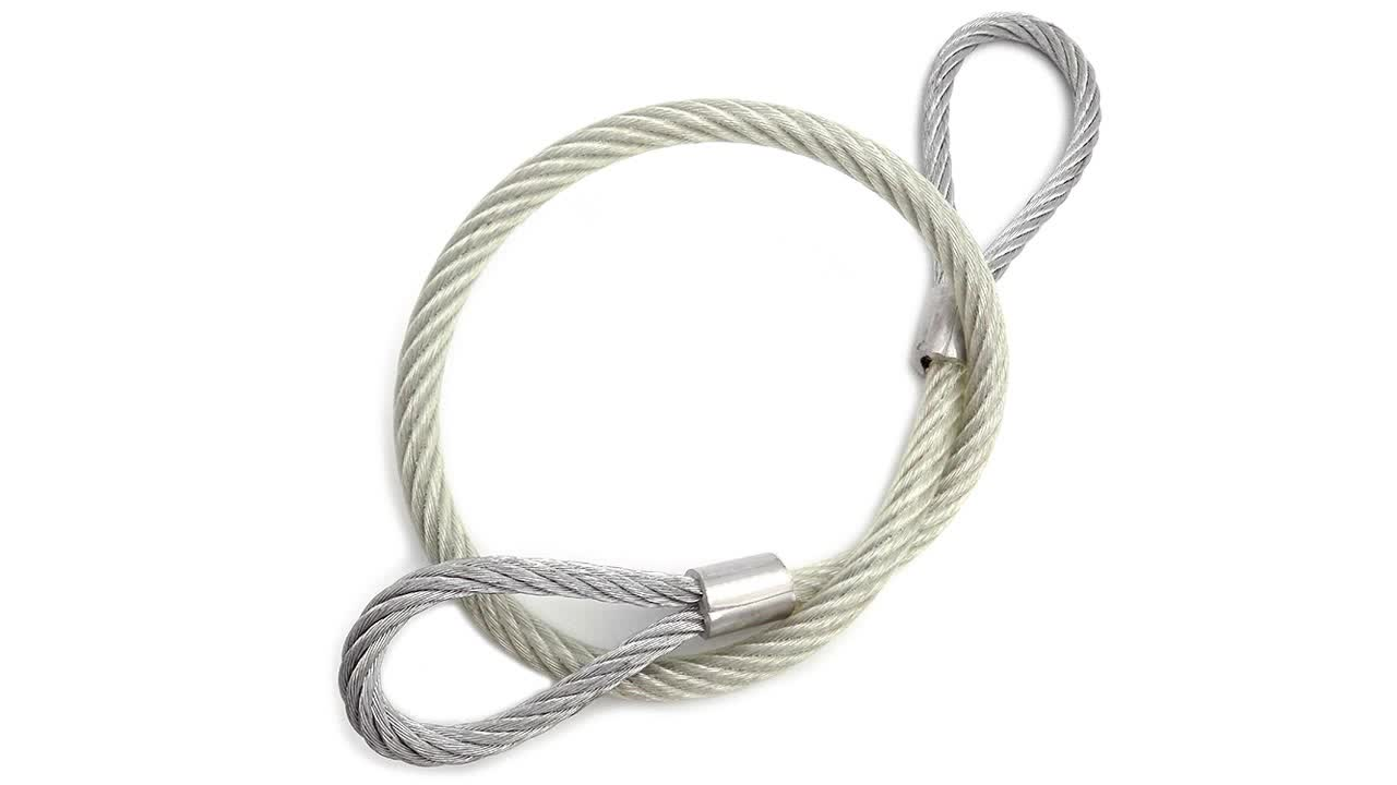 pvc coated galvanized wire rope with two loop on both side using for lifting