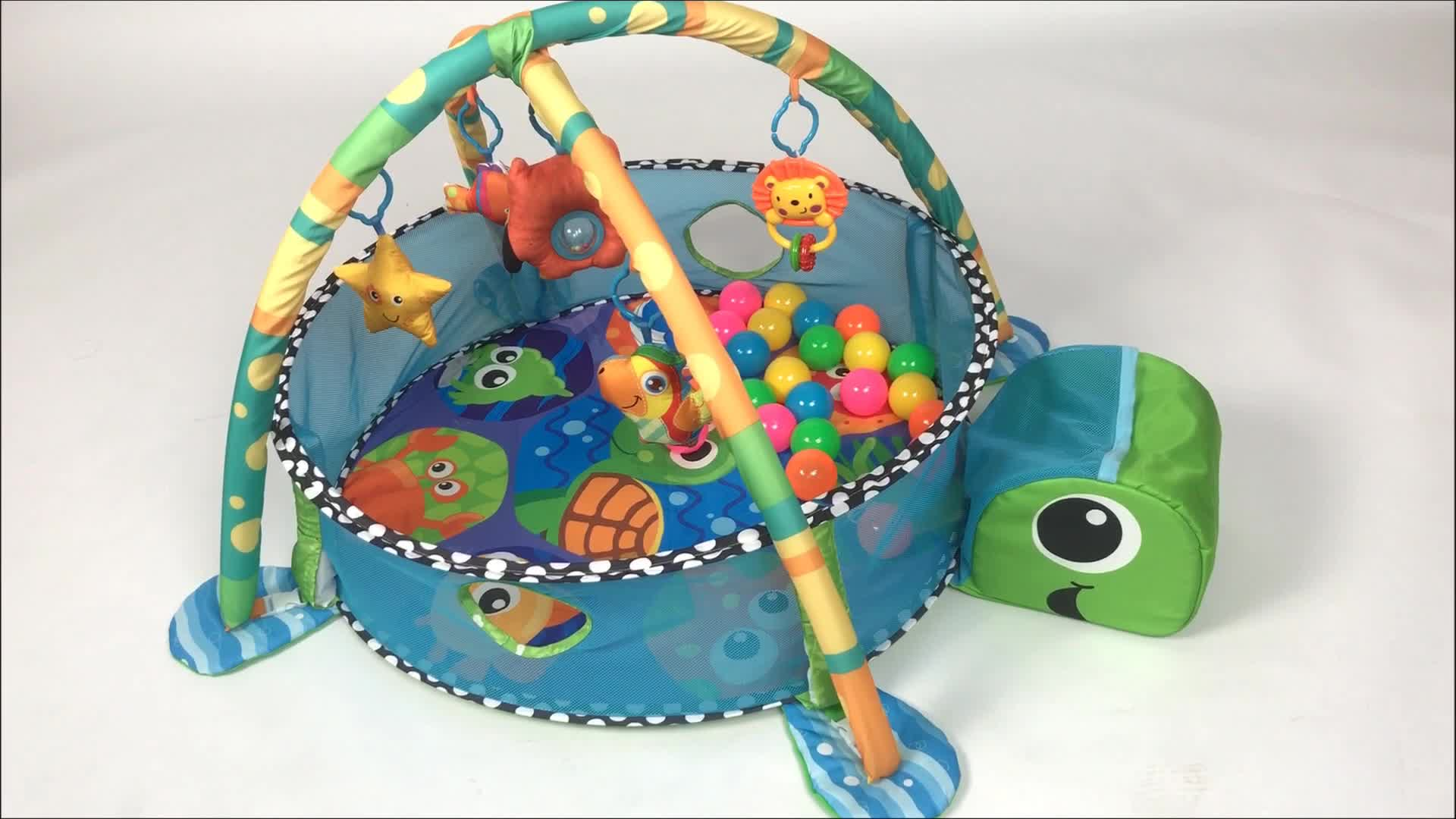 Marine theme turtle design education mat with ocean balls toy baby play gym