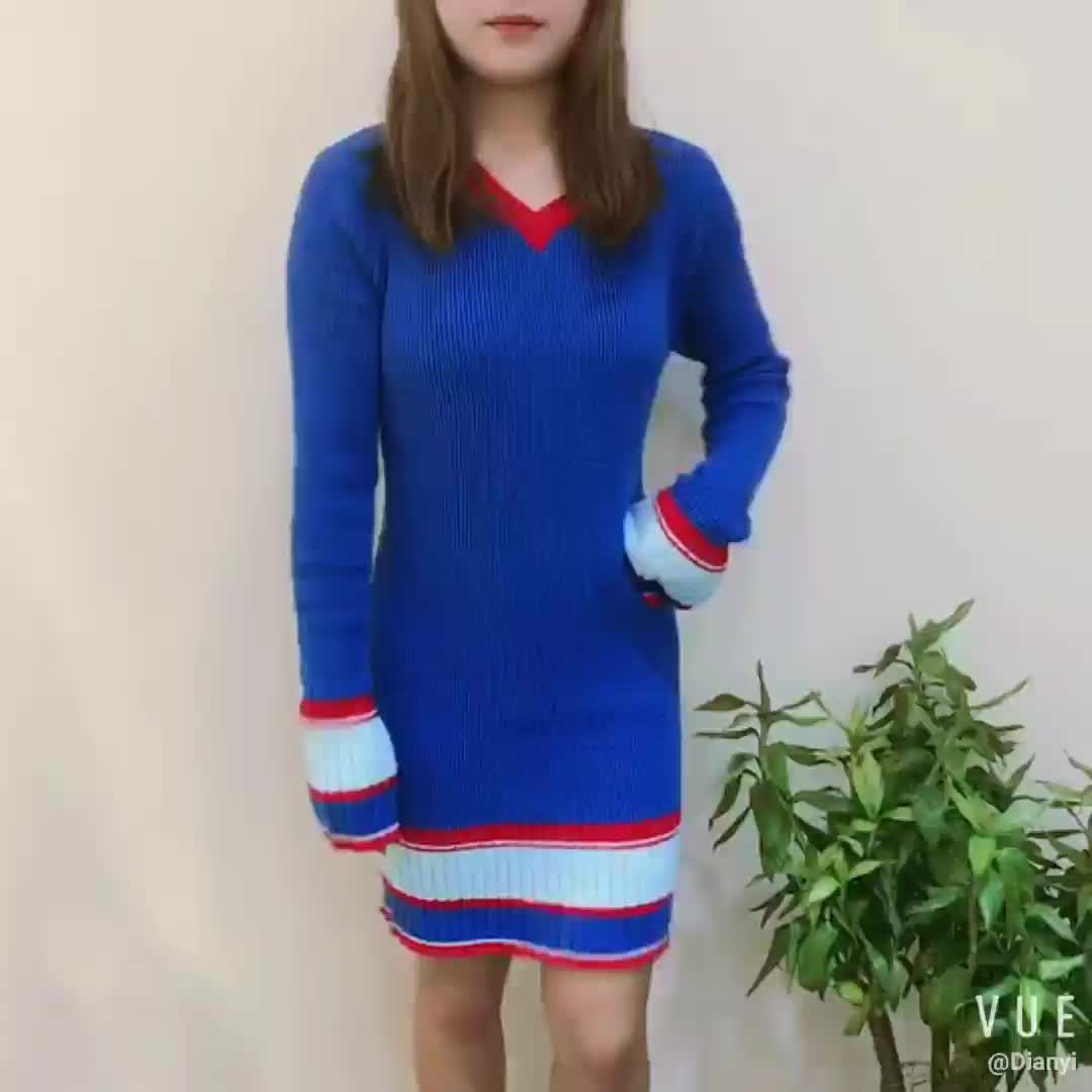lady new style fashion long sleeve v neck stripe stock long tight sweater dress