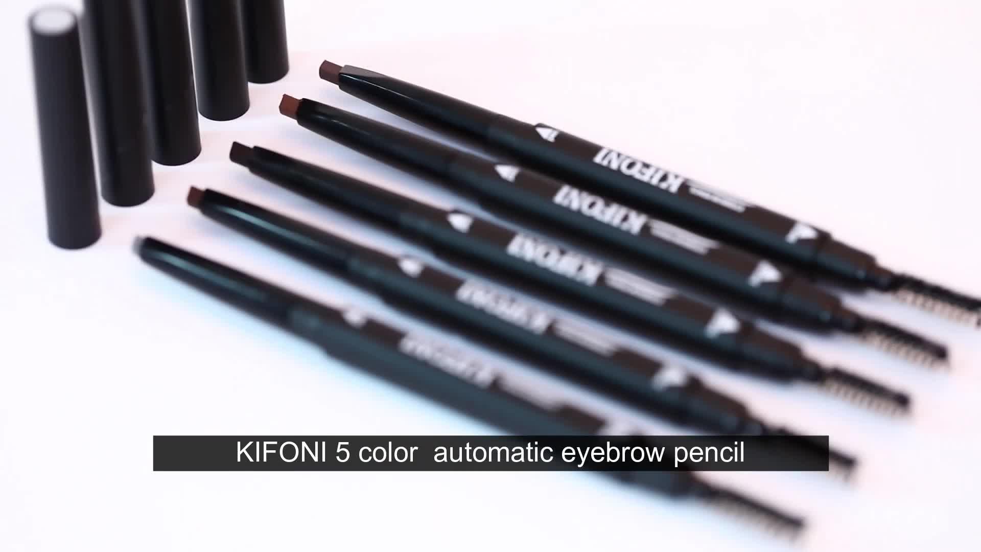 कॉस्मेटिक मेकअप 5 रंग निविड़ अंधकार लंबे समय तक चलने डबल एंडेड स्वचालित भौं पेंसिल