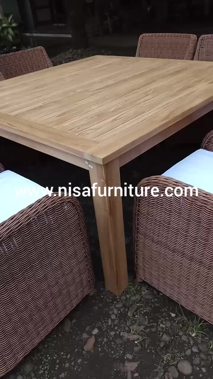 Teak Wood Square Dining Chairs And Table Synthetic Rattan ...