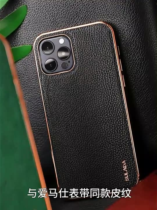 SULADA Original Leather Back Case For iPhone 11 12 Pro Luxury Leather Pattern Streamer Plating Case For iPhone 12pro max JE-032