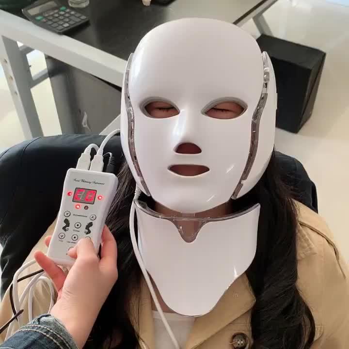 Terapia Della Luce Led Maschera per Il Viso Led Fototerapia Maschera 7 Luce Led Maschera
