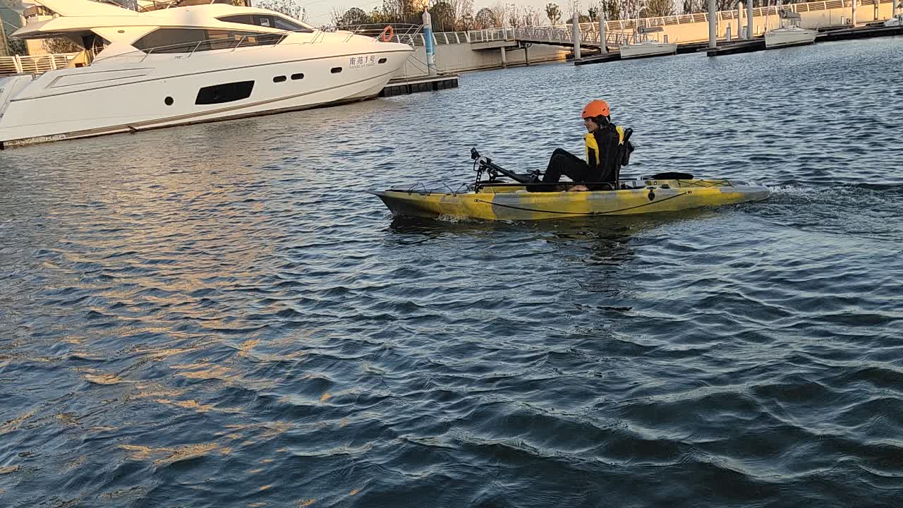 fisher kayak with 34T electric motor or pedal drive system