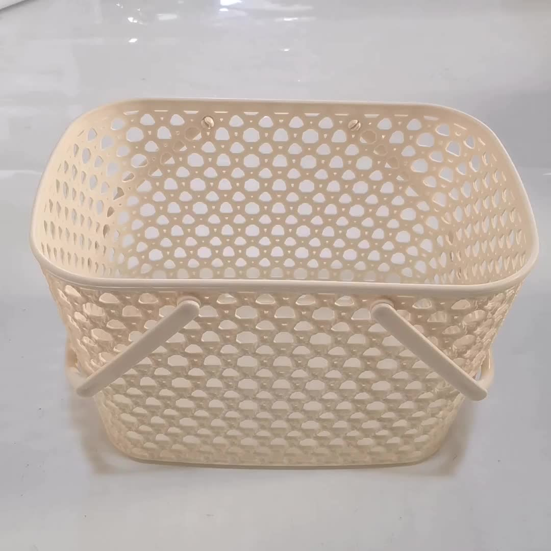 home plastic basket with handle ,plastic storage basket with holes