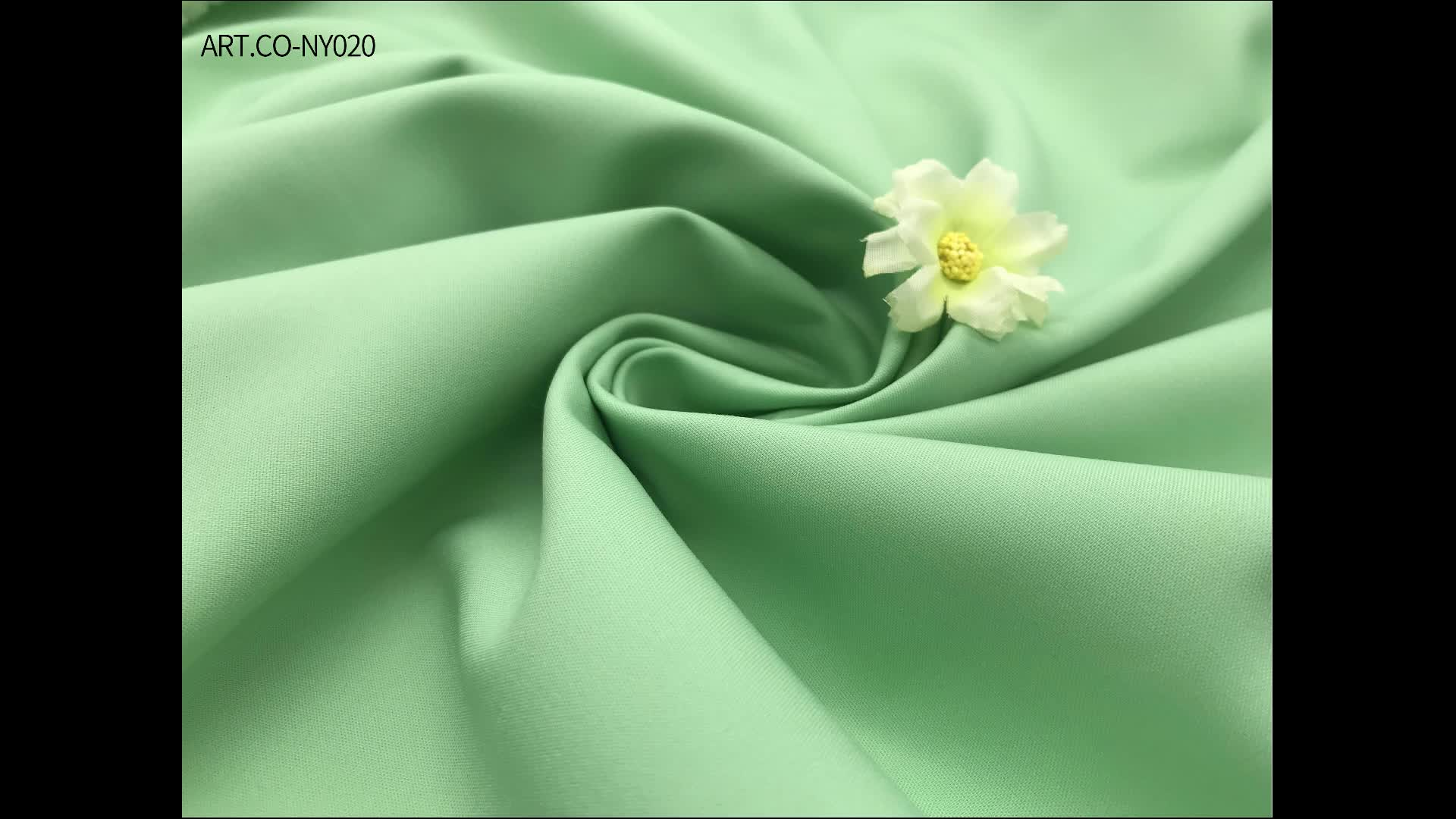 latest style solid dyed woven plain nylon cotton blend fabric for women clothing