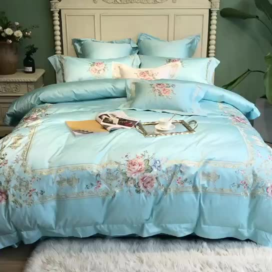 Wholesale luxury nice quality blue quilt cover 80s tencel silver lace embroidery edge bedding sets