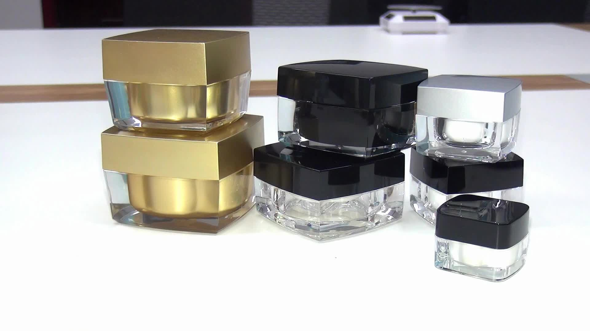 empty double wall cosmetic cream container black square acrylic plastic jar 5g 10g 15g 30g 50g