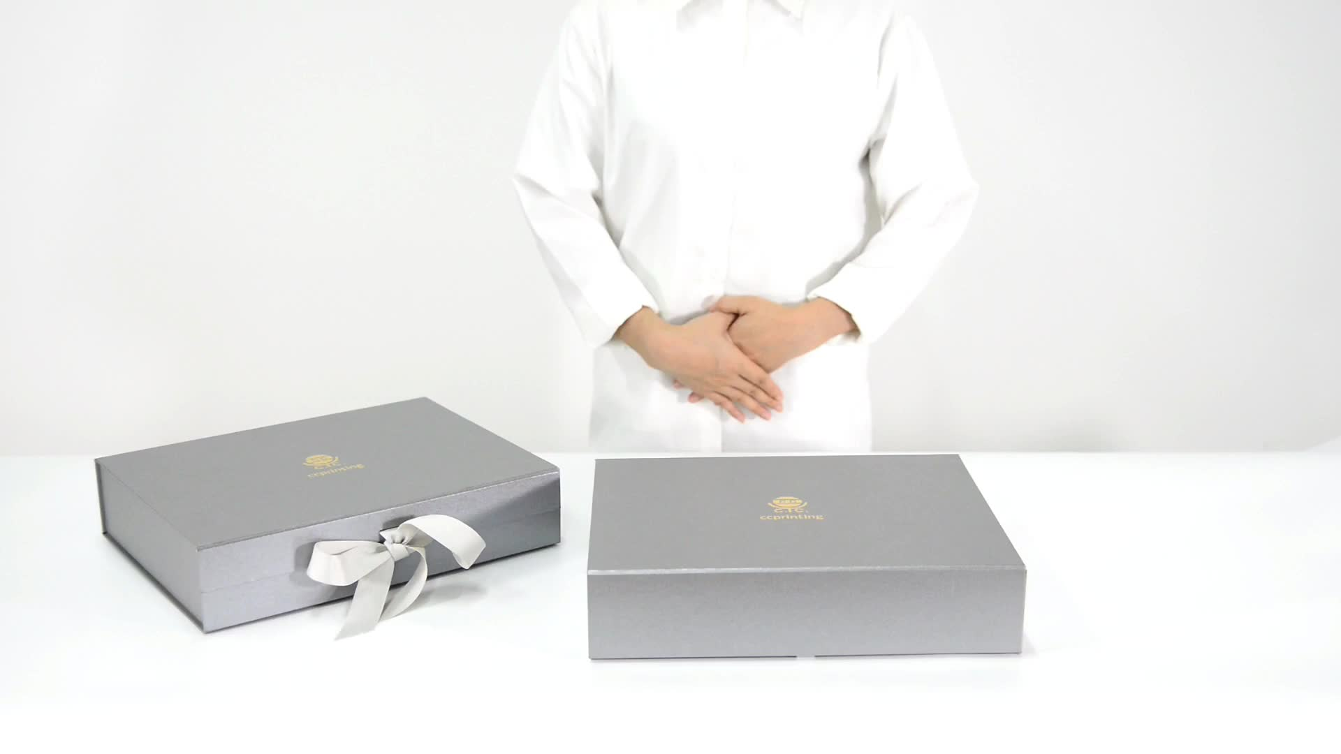 Custom Scarf Set Collapsible Flat Rectangular Paper Packaging Folding Gift Boxes With Ribbon