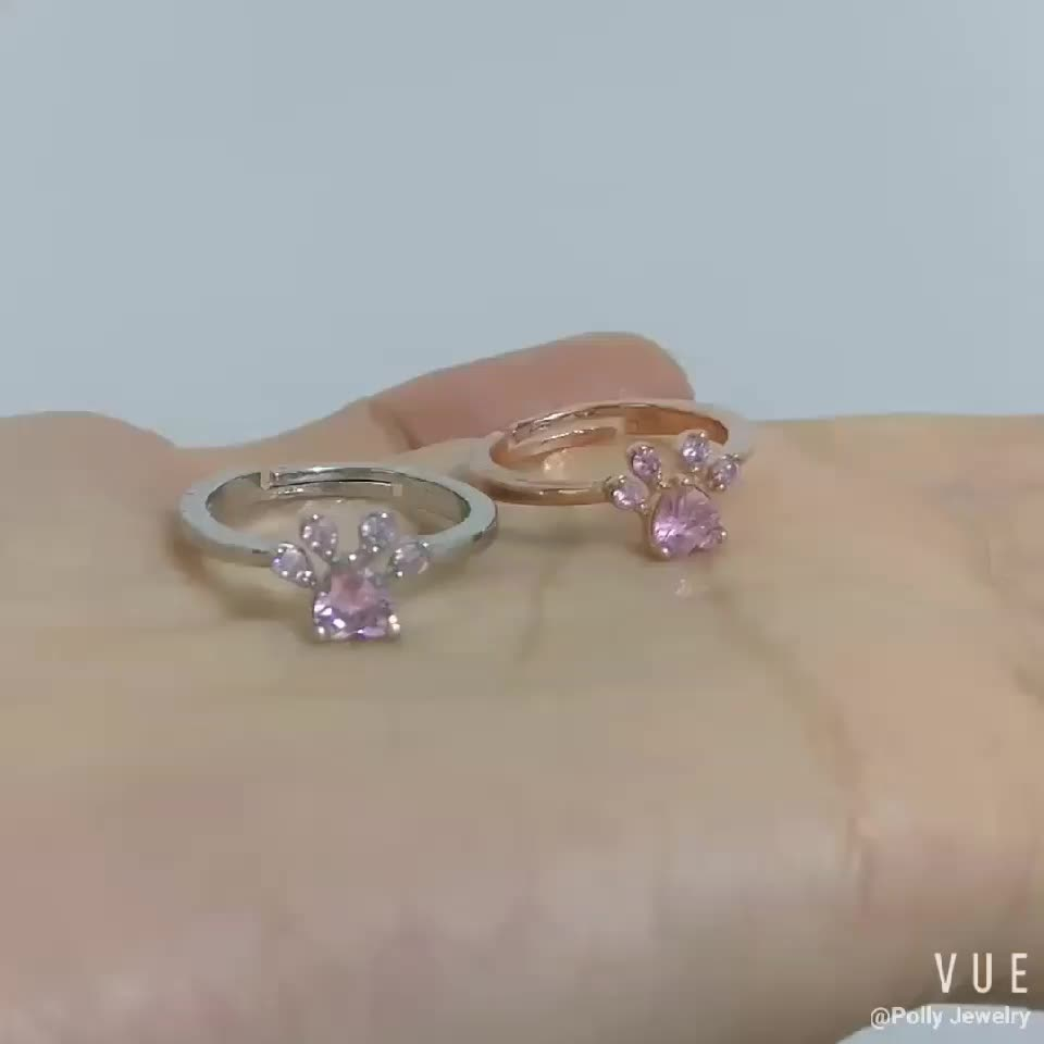 2018 Fashion Paw Crystal Zircon Rose Gold Plated Ring