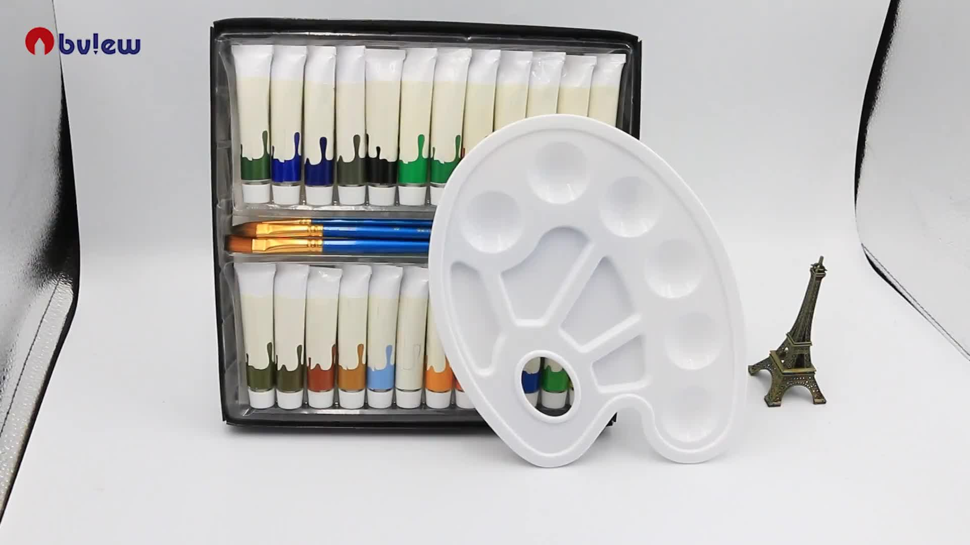 Premium kalite 24 renk akrilik boya ve sanatçı, öğrenciler, yeni başlayanlar için 3 adet boya fırçaları