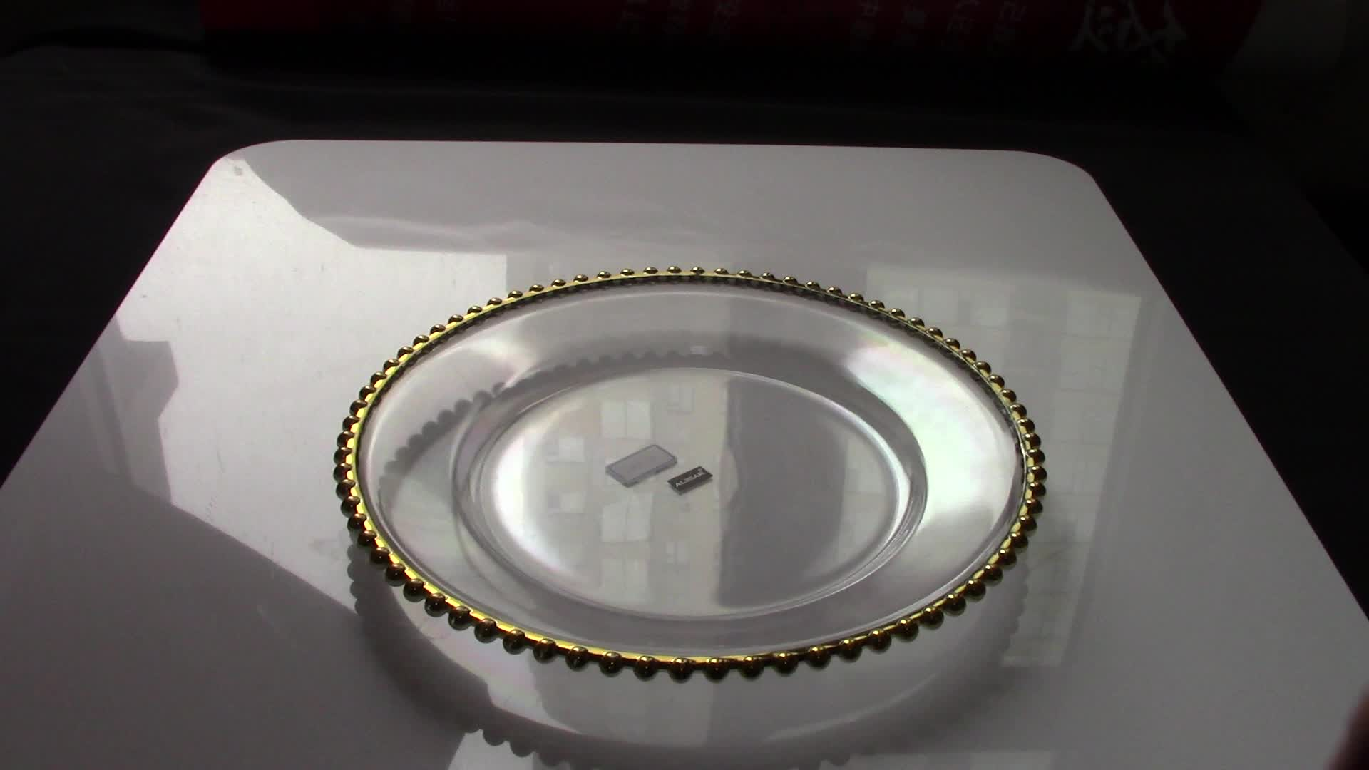 ALiiSAR Amazon disposable clear plastic charger plates with gold beads
