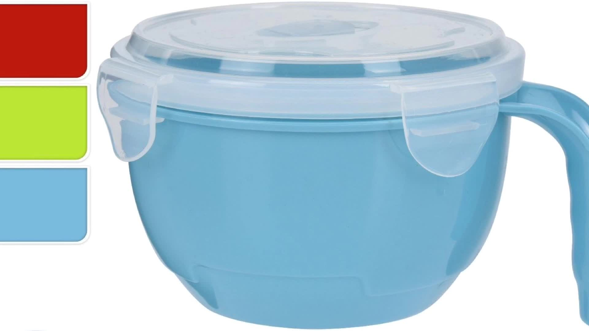 Microwave Plastic Food Noodle Bowl With Lock Vented Lid And Handle Soup Mug
