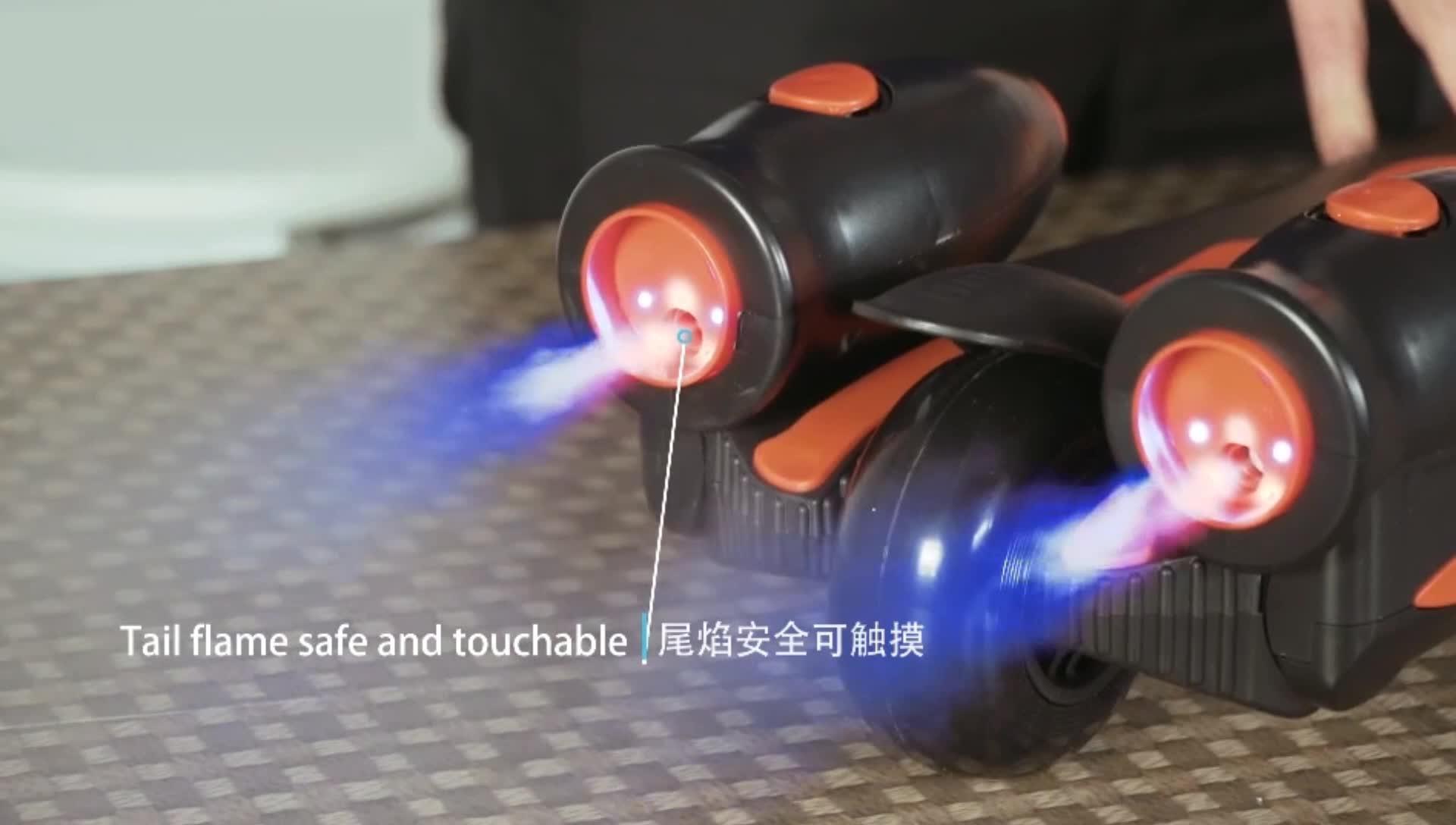 Adjustable height 3 flashing wheel kids electric spray kick scooter