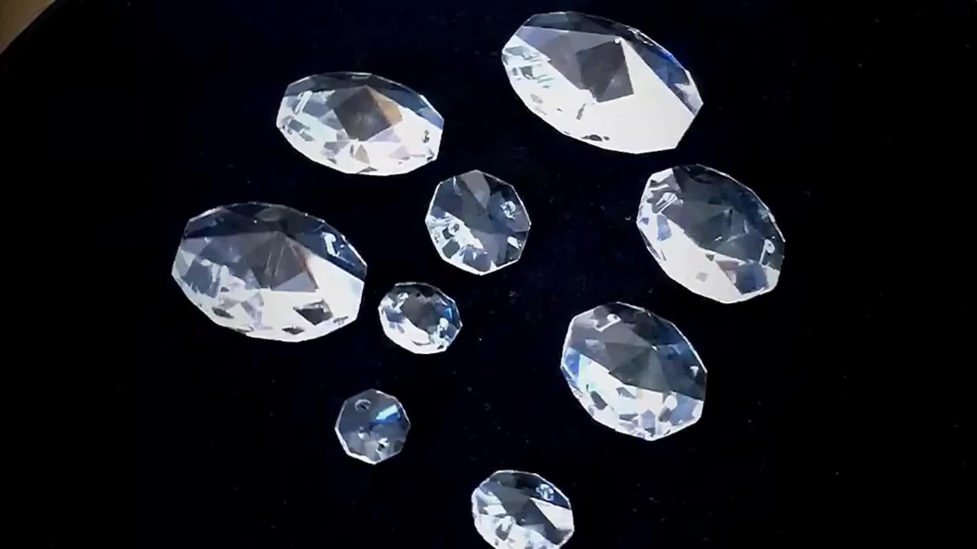 Оптовая продажа бусины прозрачный 10 мм-50 мм кристалл восьмиугольная призматическое стекло бусины Висит Люстра Запчасти для изготовления ювелирных изделий lampwork