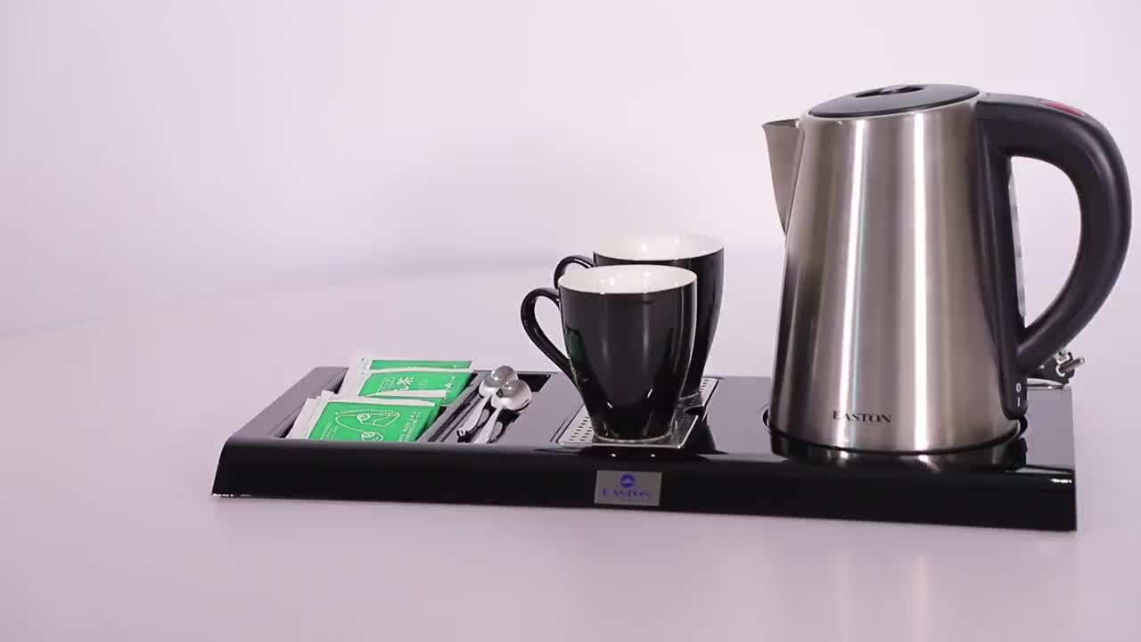 Easton 0.8L Electric Kettle 360 Degree Rotation and Cordless Hotel Kettle Tray Set