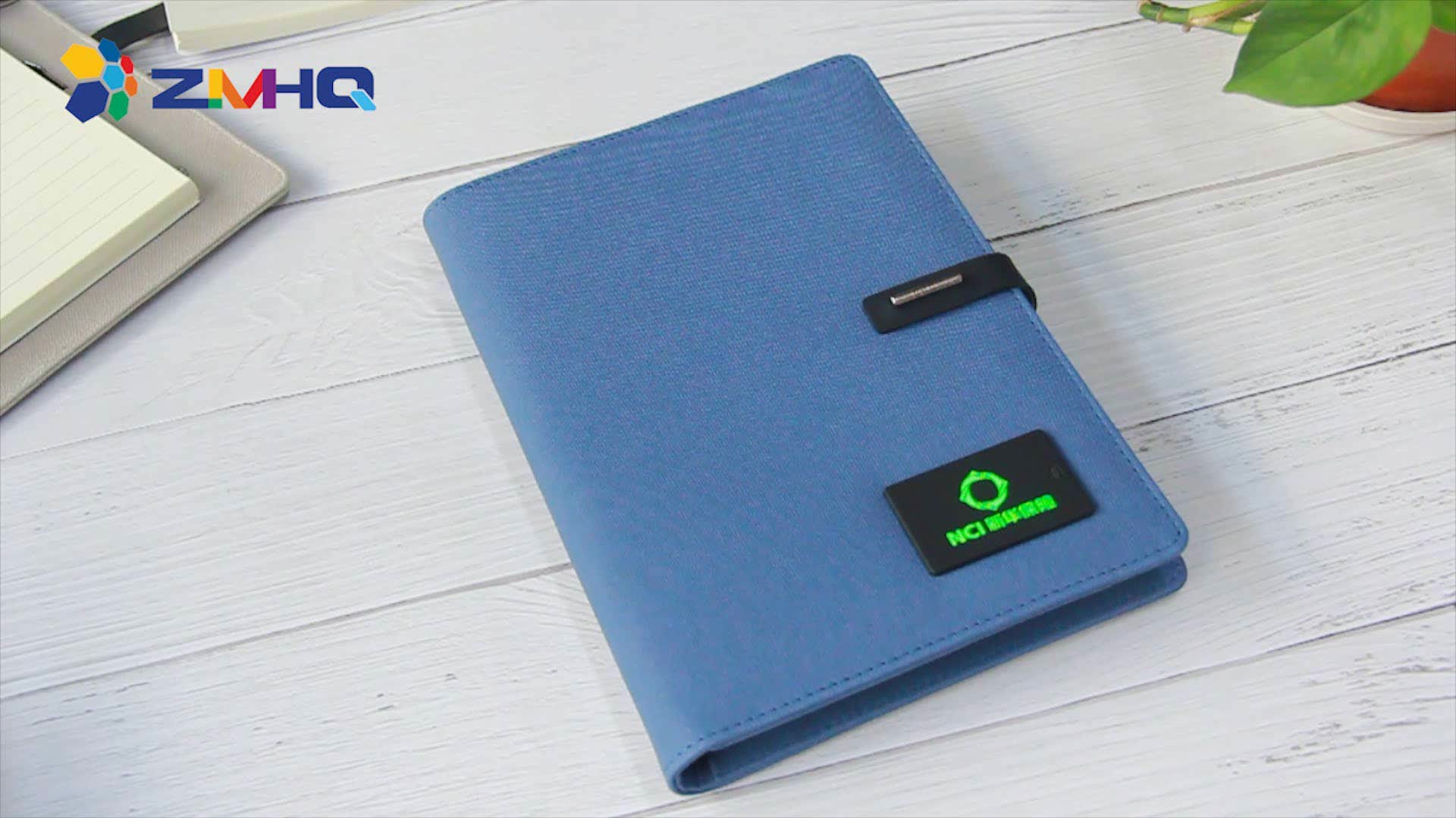 Power bank diary notebook with light up logo
