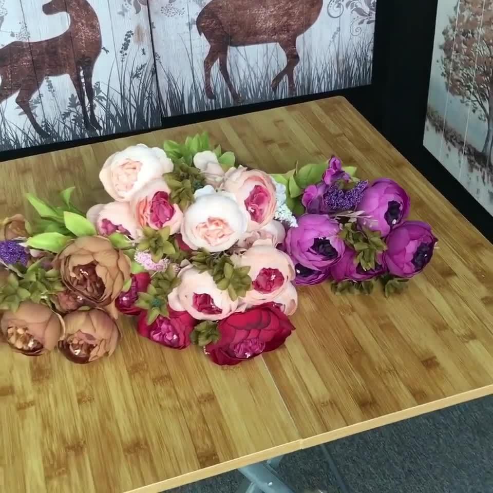 Pura Artificial Flor De Seda Arranjos de flores em massa artificial broto subiu a granel para o casamento buquê de flores