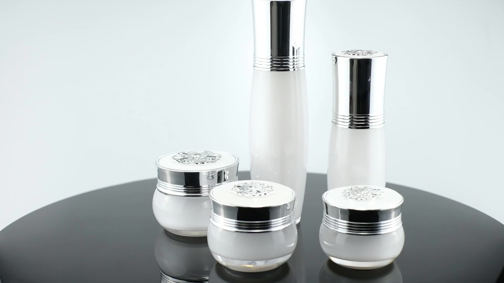 (Jar-10g/15g/20g/30g)(Bottle-15ml/20ml/30ml/50ml)New Design Pearl White bottle Luxury Acrylic Empty Cream Jar Set