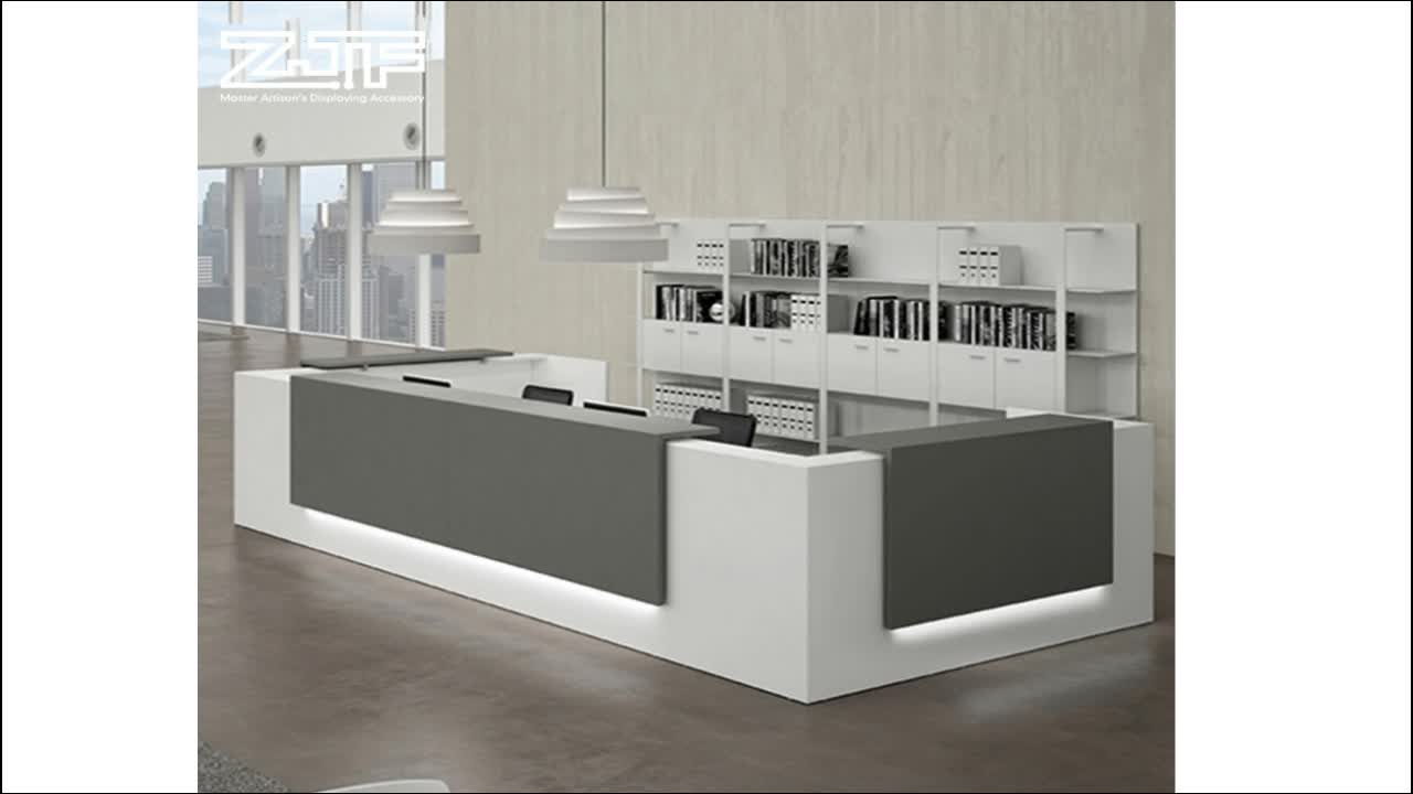 Led lighting U shape office furniture artificial marble hotel lobby fitness center reception desk