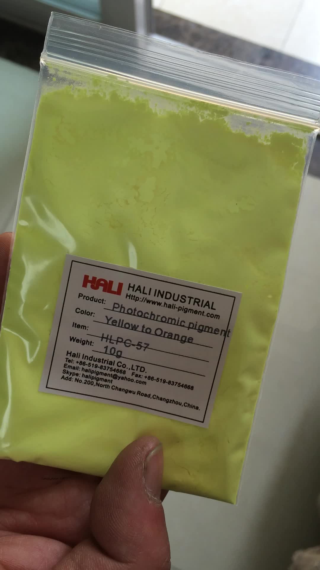 photochromic pigment, UV light active powder, solar sensitive , item:HLPC-57, yellow to orange